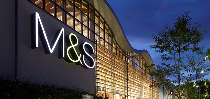 Marks and Spencer store at night